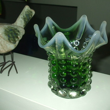 Clear Green and White Opalescent GRADUATED RAINDROPS VASE-  by Norleans - Art Glass