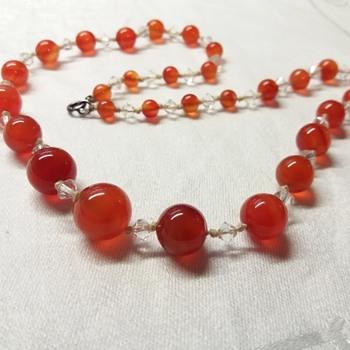 Art Deco Carnelian Pebble Necklace - Art Deco
