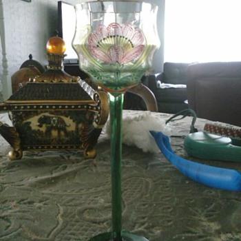 unknown vintage painted crystal - Glassware