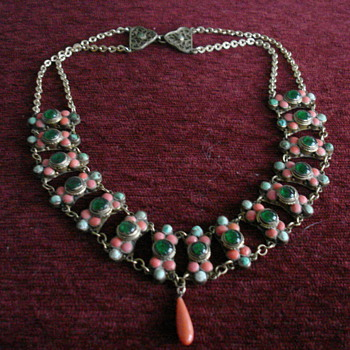 Antique Coral & Turquoise Necklace - Fine Jewelry