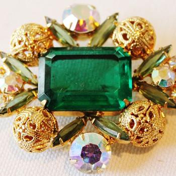 Delizza & Elster Emerald Filigree - Costume Jewelry