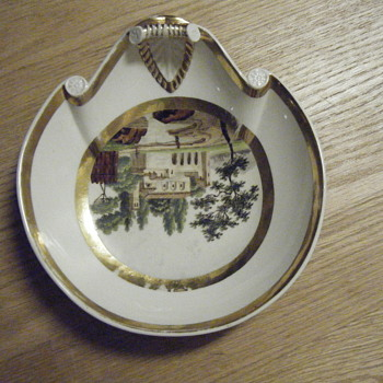 Candy Dish Old Scenic Gold Trim French?
