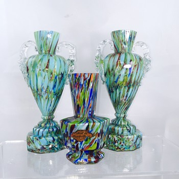 Welz Hexagon Blue Green Spatter Cased Vase - Art Glass