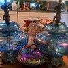 Large Vintage Carnival Glass Lamps
