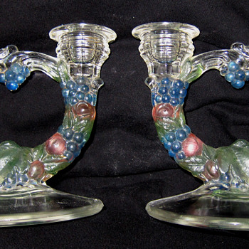 Pair of Color Double Glass Candlestick Holder Fruit Design     - Art Glass