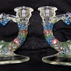 Pair of Color Double Glass Candlestick Holder Fruit Design