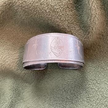 WW2 aircraft aluminum cuff bracelet-- Gaum 1945 - Folk Art