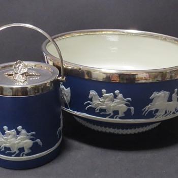 Brownhills Pottery Jasper Sprig Bowl and Jam Pot- Dudson - China and Dinnerware