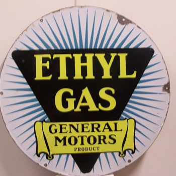 "20"" Ethyl Gas General Motors  & 30"" Red Crown Porcelain signs"
