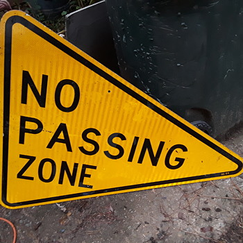 yellow NO PASSING ZONE pennant sign - Signs