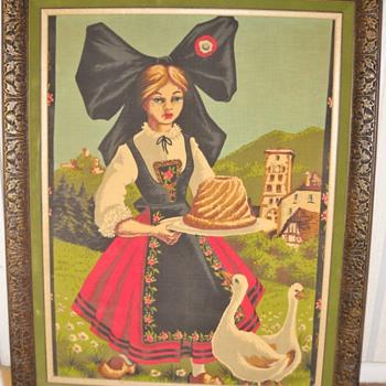 Vintage Girl & Ducks Framed Linen