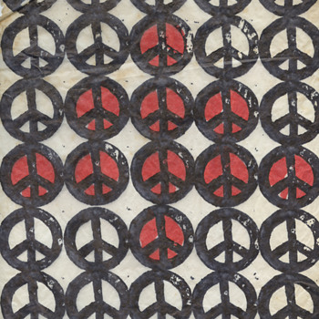 My Brother's 1969 Hippie Christmas Card w Peace Woodblocks - Christmas