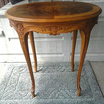 """Imperial"" Furniture Co. Grand Rapids Michigan/Louis XV Style Carved Oak Ocassional Table With Inlaid Top # 1366/Circa 1920-30 - Furniture"