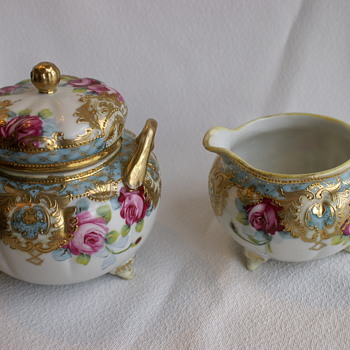 Nippon China cream & Sugar Set circa 1890's - China and Dinnerware