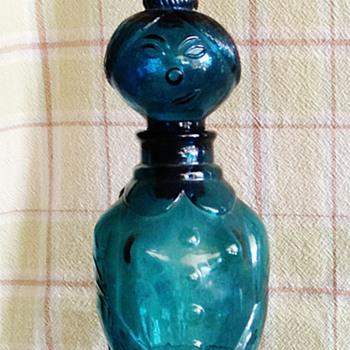 Vintage Teal Glass Lady Decanter  - Bottles
