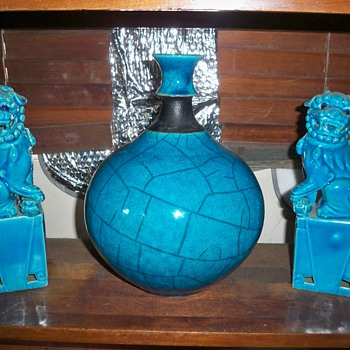 Turquoise modern vase - Pottery