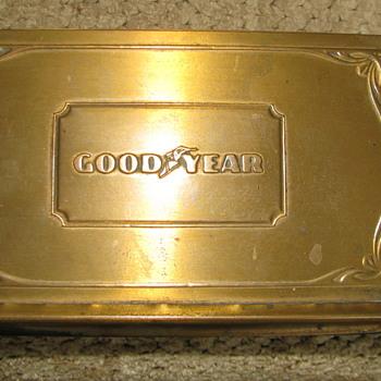 Vintage 'GOOD YEAR' Brass Desk Calender - Office