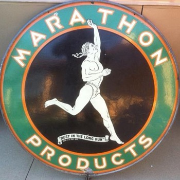 "1930's 48"" Marathon Sign in original ring. One of  the favorite signs in my collection! - Petroliana"