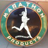 "1930's 48"" Marathon Sign in original ring. One of  the favorite signs in my collection!"