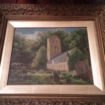 1700 1800s church oil painting - Fine Art