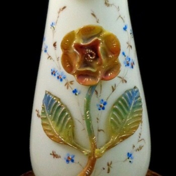 Antique Victorian Bohemian Hand Painted Applied Rose Art Glass Vase - Art Glass
