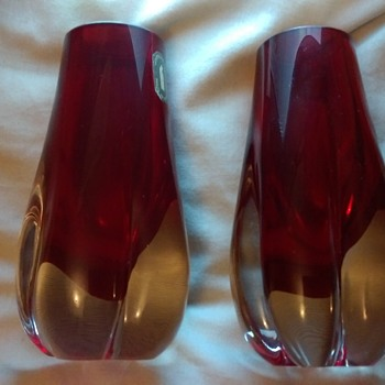 Whitefriars ruby red vases - Art Glass