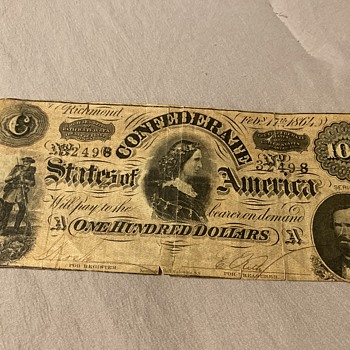 $100 confederate bill 1864 - US Paper Money