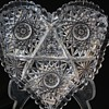 Laural Cut Glass Co. Heart Shaped Nappy American Brilliant Cut Glass