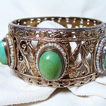 Heavy Gilded Silver Turquoise Bracelet - Fine Jewelry