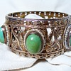 Heavy Gilded Silver Turquoise Bracelet