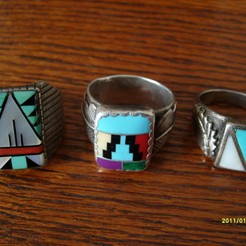 3 Silver Navajo Turquoise rings - Fine Jewelry