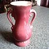 "Royal Copely 6"" Handle Vase/ Rose Glaze with 22kt Gold Rim / Circa 1950"