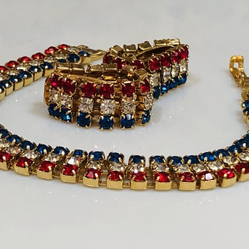 Unmarked Patriotic Demi parure? - Costume Jewelry