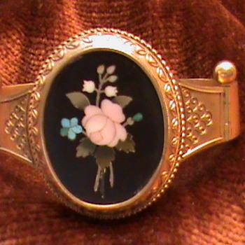 Victorian Pietra Dura Bangle - Costume Jewelry