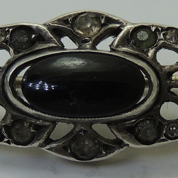 Brooch for WOMEN- Sterling & Onyx - Marked GERMANY