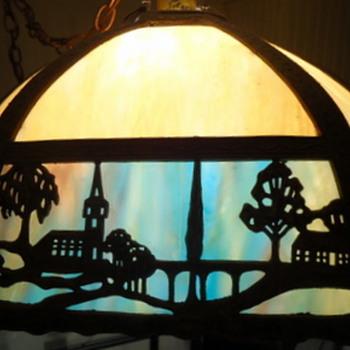Blue/cream slag lampshade with church and bridge