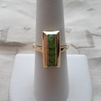 14kt Yellow Gold Ring Set With Tsavorite Garnets - Fine Jewelry