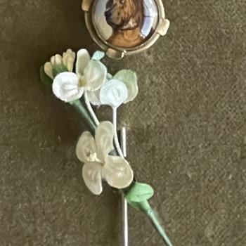 Antique Bloodhound Stick Pin - Animals