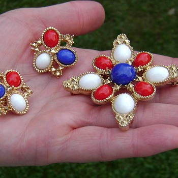 Sarah Coventry Brooch and Earrings - Americana - Costume Jewelry