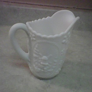 WINDMILL MILK GLASS PITCHER - Glassware