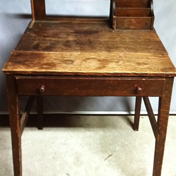Brown wooden desk.