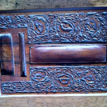 Unusual Carved Wooden Box - Folk Art