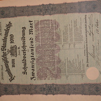 German 1919 Bond (?) - Military and Wartime