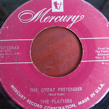 "1955 The Platters ""The Great Pretender"" backed with ""I'm Just a Dancing Partner"" 45rpm - Records"