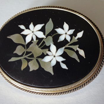 Large Pietra Dura Vermeil Pin Brooch - Fine Jewelry