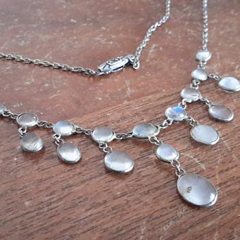 Art deco marcasite peridot earring redo & antique  moonstone necklace