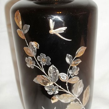 Black vase painted with Gold, Silver & Copper Design - Art Glass