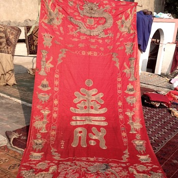 ANTIQUE CHINESE SILK HAND EMBRODERY DYNASTY TEXTILE HUGE WALL HANGING DRAGON FIGURES PHONIEX