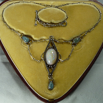Artificers' Guild Silver, Opal and Moonstone Necklace - Arts and Crafts