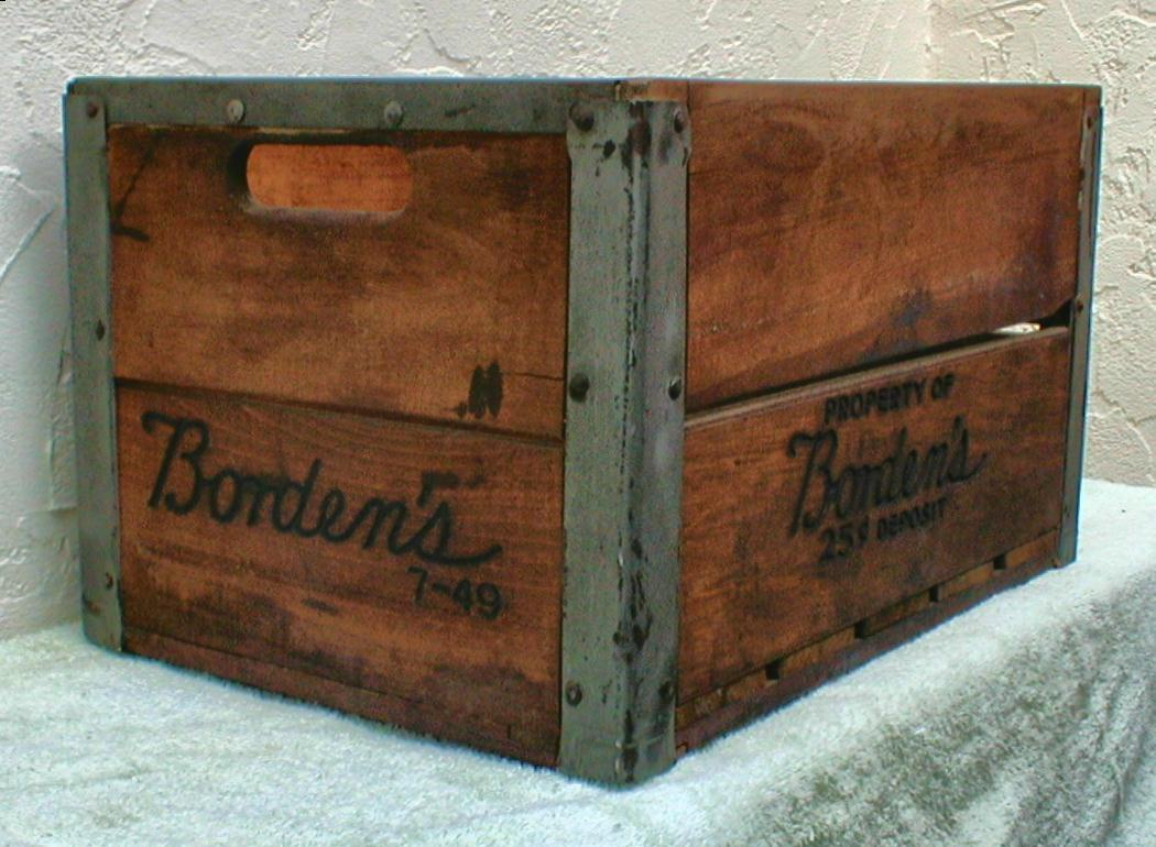 1949 borden 39 s wood milk crate collectors weekly. Black Bedroom Furniture Sets. Home Design Ideas